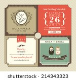 vintage style wedding... | Shutterstock .eps vector #214343323