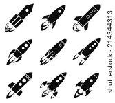 set of nine rocket or spaceship ... | Shutterstock .eps vector #214344313