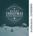 christmas retro typographic and ... | Shutterstock .eps vector #214360843