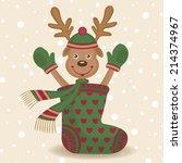 cute reindeer and sock.... | Shutterstock .eps vector #214374967