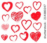 vector set of hand drawn hearts.... | Shutterstock .eps vector #214380247