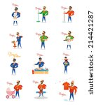 a set of super dad doing... | Shutterstock .eps vector #214421287