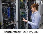 technician talking on phone... | Shutterstock . vector #214492687