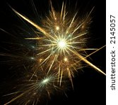 Golden silver fireworks - stock photo