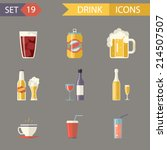 retro flat alcohol beer juice... | Shutterstock .eps vector #214507507