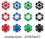 set of gambling poker chips... | Shutterstock .eps vector #214526617