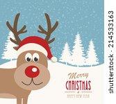 reindeer snowy background | Shutterstock .eps vector #214533163