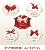 set of gift cards with silk... | Shutterstock .eps vector #214589707