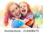the family enjoys the rain | Shutterstock . vector #214608673