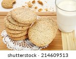 sweet shortbread biscuits on a... | Shutterstock . vector #214609513
