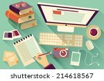 flat design objects  work desk  ... | Shutterstock .eps vector #214618567