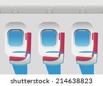 aircraft cabin with portholes... | Shutterstock .eps vector #214638823