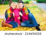 beautiful family keep warm... | Shutterstock . vector #214654333