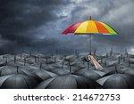 Rainbow Umbrella In Mass Of...