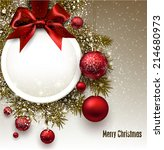 christmas gift card with red... | Shutterstock .eps vector #214680973