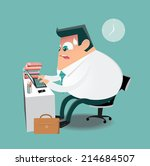 working hard on computer in the ...   Shutterstock .eps vector #214684507
