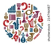 music icons in circle shape | Shutterstock .eps vector #214746487