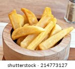 french fried in the wood circle  | Shutterstock . vector #214773127