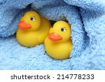 rubber ducks after bath wrapped ...
