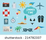 summer time set with vacation... | Shutterstock .eps vector #214782337