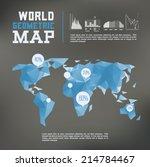 3d vector polygonal world map...
