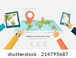 world map. mobile gps... | Shutterstock .eps vector #214795687