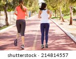 rear view of a couple of female ... | Shutterstock . vector #214814557