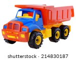 Plastic toy truck isolated on...
