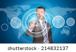 businessman in a suit pointing... | Shutterstock . vector #214832137