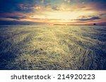 vintage photo of stubble field... | Shutterstock . vector #214920223