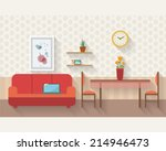 Living room and dining room with furniture and long shadows. Flat style vector illustration. | Shutterstock vector #214946473