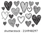 vector set of hand drawn doodle hearts.  Valentine's day