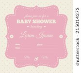 baby shower invitation. pink... | Shutterstock .eps vector #215014273