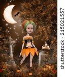 beautiful toon pumpkin girl | Shutterstock . vector #215021557