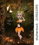beautiful toon pumpkin girl | Shutterstock . vector #215021593