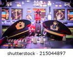 view of airplane cockpit  | Shutterstock . vector #215044897