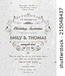vintage elegant wedding... | Shutterstock .eps vector #215048437