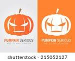 pumpkin serious for a halloween ... | Shutterstock .eps vector #215052127