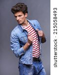 Male Fashion Model With Modern...