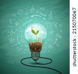 green seedlings in a light bulb ... | Shutterstock .eps vector #215070067