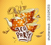 tea party invitation card with... | Shutterstock .eps vector #215109253