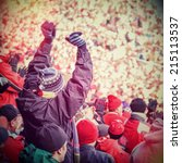 fan celebrating in the stands... | Shutterstock . vector #215113537