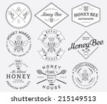 honey and bees vector badges... | Shutterstock .eps vector #215149513