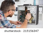 computer engineer working on... | Shutterstock . vector #215156347