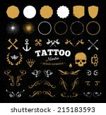 set of cool elements for tattoo ... | Shutterstock .eps vector #215183593