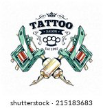 Text Is Cool Authentic Tattoo Studio Poster Template With Machines And Classic Typography Vector Illustration