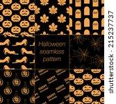 8 different halloween seamless... | Shutterstock .eps vector #215237737