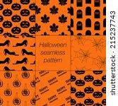 8 different halloween seamless... | Shutterstock .eps vector #215237743