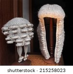 wigs worn by lawyers and judges ... | Shutterstock . vector #215258023