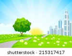 green landscape with trees ... | Shutterstock . vector #215317417
